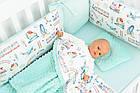 Комплект постельного белья с цифровой печатью Паровозы, самолёты мятного цвета (бортики на 3 стороны) 5-332, фото 2