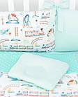 Комплект постельного белья с цифровой печатью Паровозы, самолёты мятного цвета (бортики на 3 стороны) 5-332, фото 3