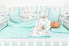 Комплект постельного белья с цифровой печатью Паровозы, самолёты мятного цвета (бортики на 3 стороны) 5-332, фото 5