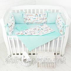 Комплект постельного белья с цифровой печатью Asik Паровозы, самолёты мятного цвета (5-332)
