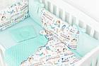 Комплект постельного белья с цифровой печатью Паровозы, самолёты мятного цвета (бортики на 3 стороны) 5-332, фото 6