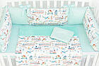 Комплект постельного белья с цифровой печатью Паровозы, самолёты мятного цвета (бортики на 3 стороны) 5-332, фото 7