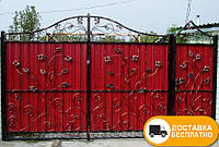Кованые распашные ворота из профнастилом, код: Р-0181
