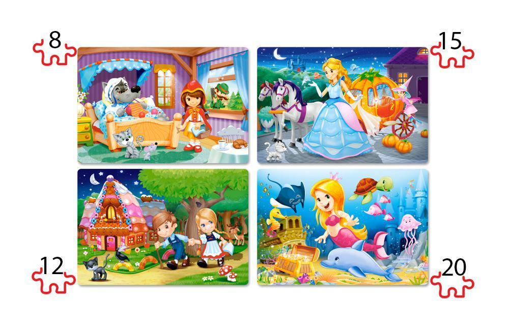 Пазлы Красивые сказки, 4xPuzzle(8,12,15,20)