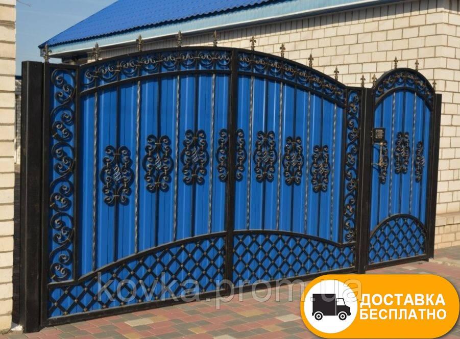 Распашные ворота с калиткой из профнастилом, код: Р-0187