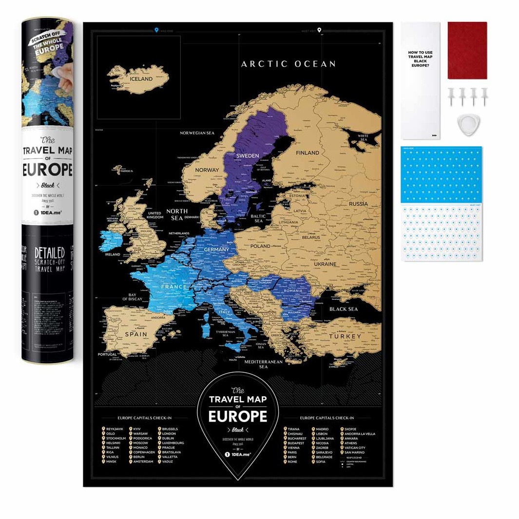 Скретч-карта Європи Travel Map ™ Black Europe