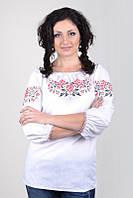 Вышиванка женская белого цвета с цветочным узором Ж04-112, фото 1
