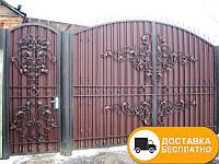 Ворота с калиткой из профнастилом, код: Р-0189