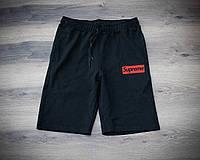 Мужские черные спортивные шорты, чоловічі шорти Supreme (красный лого), Реплика