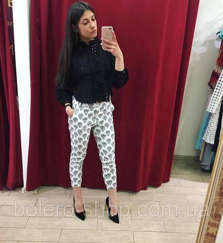 Женские брюки-бриджи летние Италия белые с вышивкой