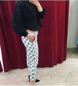 Женские брюки-бриджи летние Италия белые с вышивкой, фото 2
