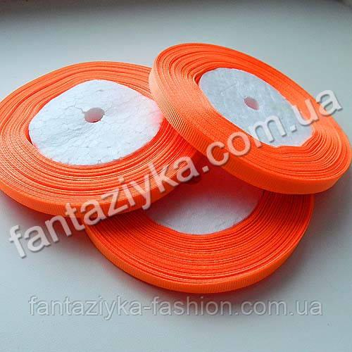 Репсовая лента тонкая 0,6 см, ярко-оранжевая