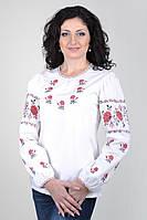 Белая женская вышиванка с длинным рукавом вышивкой розами Ж01/2-112