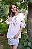 Женская вышиванка белого цвета из натуральной ткани с рукавом 3/4 Ж06-316