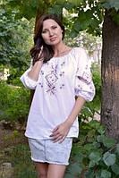 Женская вышиванка белого цвета из натуральной ткани с рукавом 3/4 Ж06-316, фото 1