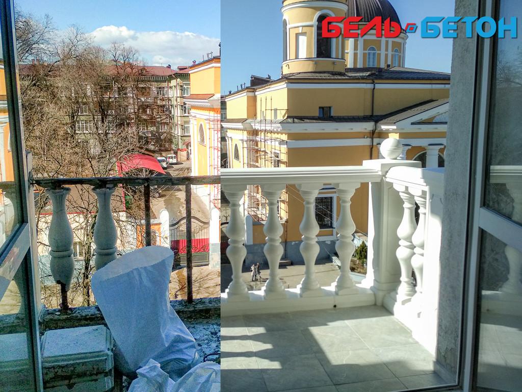 Новая балюстрада на балконе многоэтажного дома в Киеве с сохранением архитектурного стиля