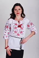 Женская рубашка с вышитыми розами из хлопка Ж11-112