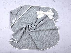 Вязанный конверт- плед с кисточкой, серый