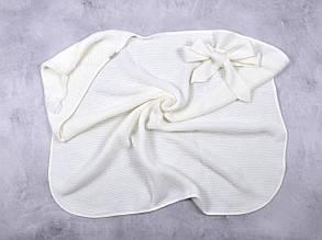 Вязанный конверт- плед с кисточкой, молочный