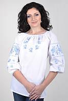Женская вышитая блуза с рукавом 3/4 и голубой вышивкой Ж01-113+, фото 1
