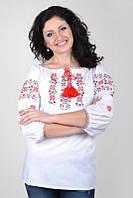 Женская вышитая рубашка из натуральной ткани с завязками Ж02-112