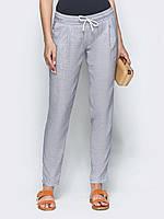 Женские льняные брюки с поясом на резинке  ЛЕТО