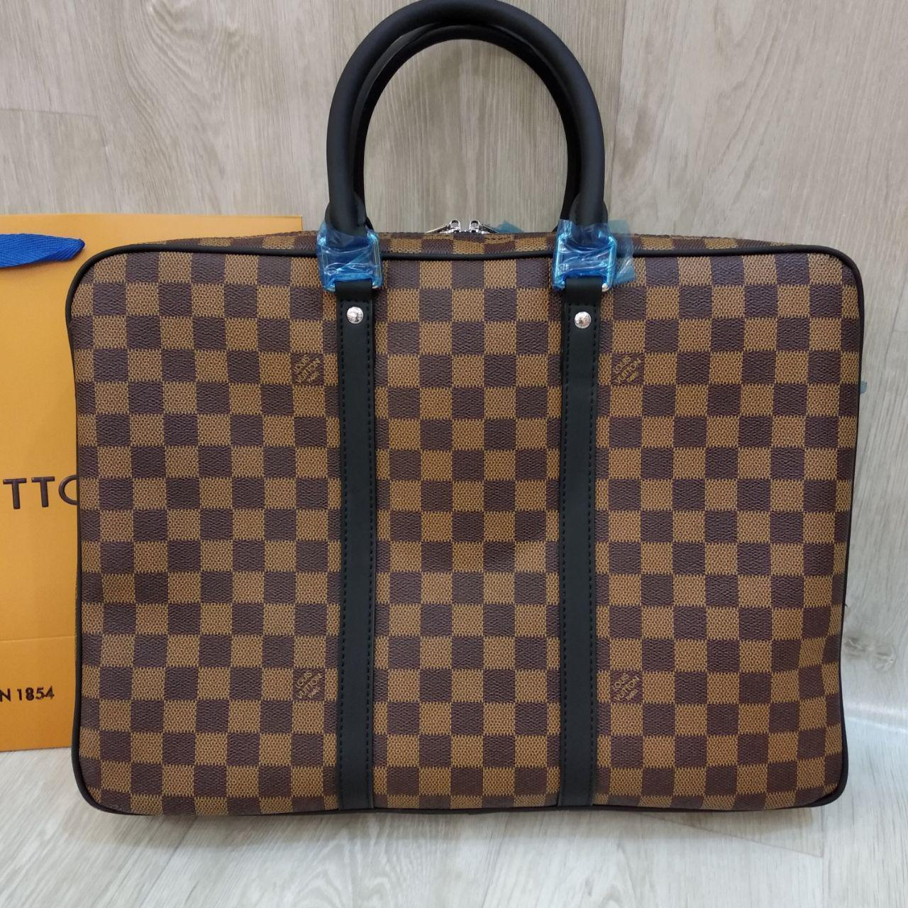Сумка для документов и ноутбука Louis Vuitton, кожа+ канва