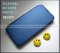 Синий оригинальный чехол Xiaomi Redmi Note 7, чехол книжка Mofi ультратонкий