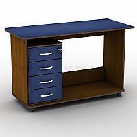 Письменный прямой офисный стол на колёсиках со стационарной тумбой на 4 ящика Тиса СП-5к+Т-4 1200х520