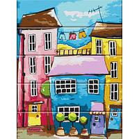 "Картина по номерам на дереве ""Разноцветная улица"" 30*40 см ASW024"