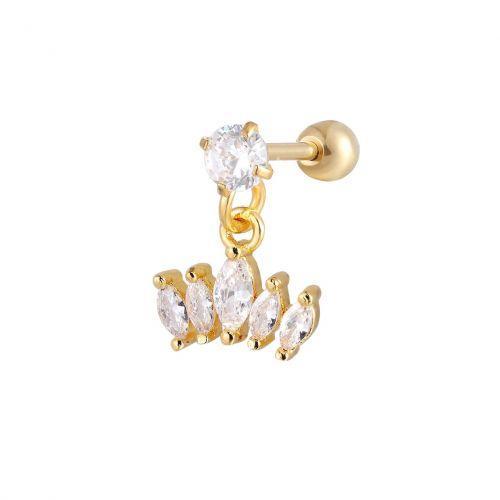 Серьга с позолотой подвеска пять овальных кристаллов 165172