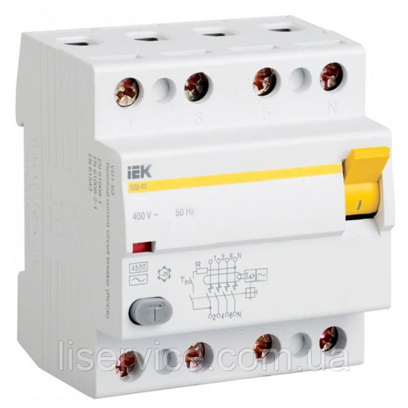 Выключатель дифференциальный ВД1-63 4Р  50А 100мА IEK