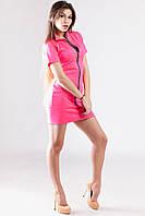 Платье розовое короткое с молнией