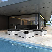 Кутовий диван. Модульний комплект білих садових меблів