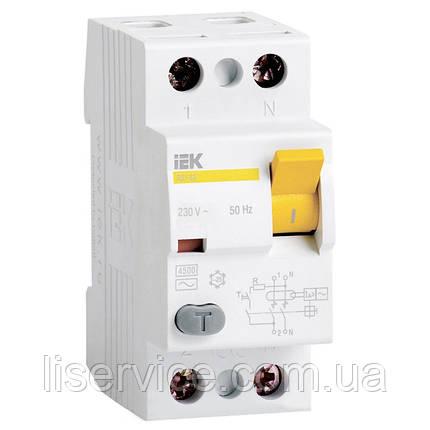 Выключатель дифференциальный ВД1-63 2Р  25А 300мА IEK, фото 2