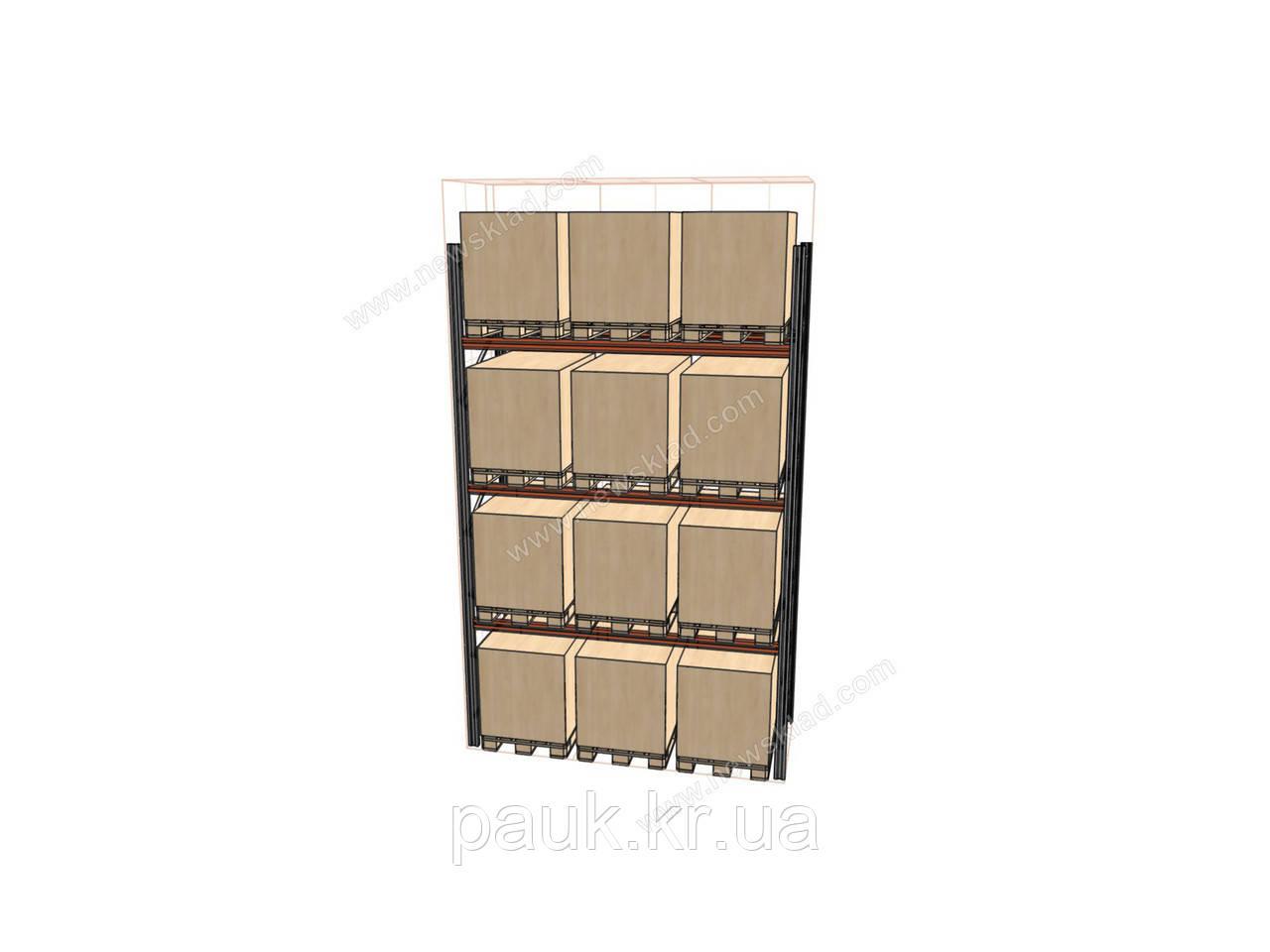 Фронтальный паллетный стеллаж Н4500хL2700х1100 мм(пол.+3 уровня по 3000 кг на уровень), складской стеллаж