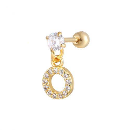 Серьга позолоченная подвеска кольцо с белыми фианитами 165173