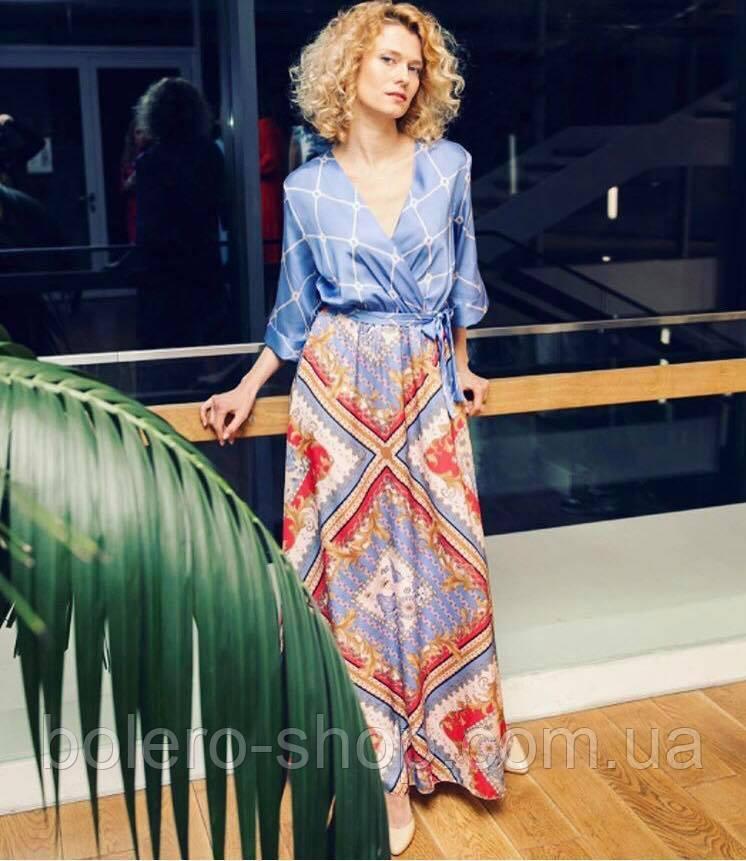 Женское платье Италия разноцветное макси