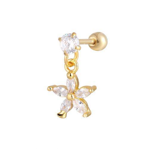 Сережка позолоченная с кристальной подвеской цветок в ухо конч пирсинг