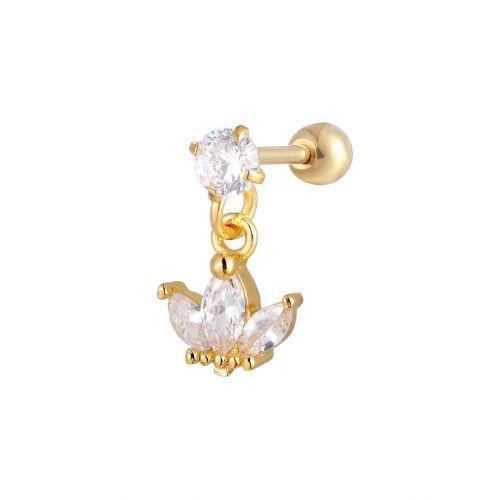 Сережка позолоченная с подвеской корона в ухо конч пирсинг 165177