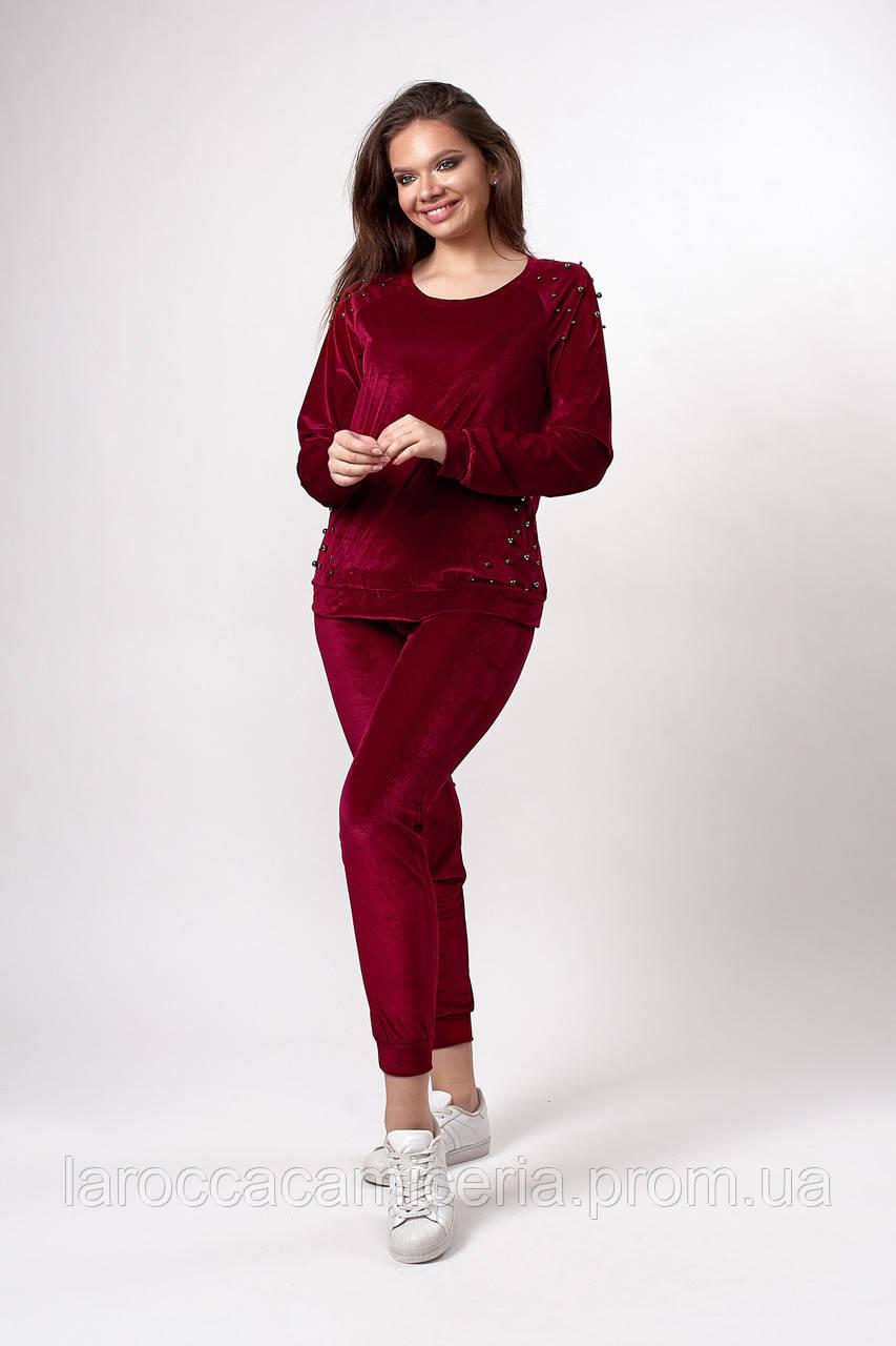Женский велюровый костюм. Код модели КТ-20-39-19. Цвет бордовый.