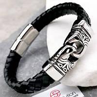 Мужской браслет из плетеной кожи Римский легат 22 см 100943