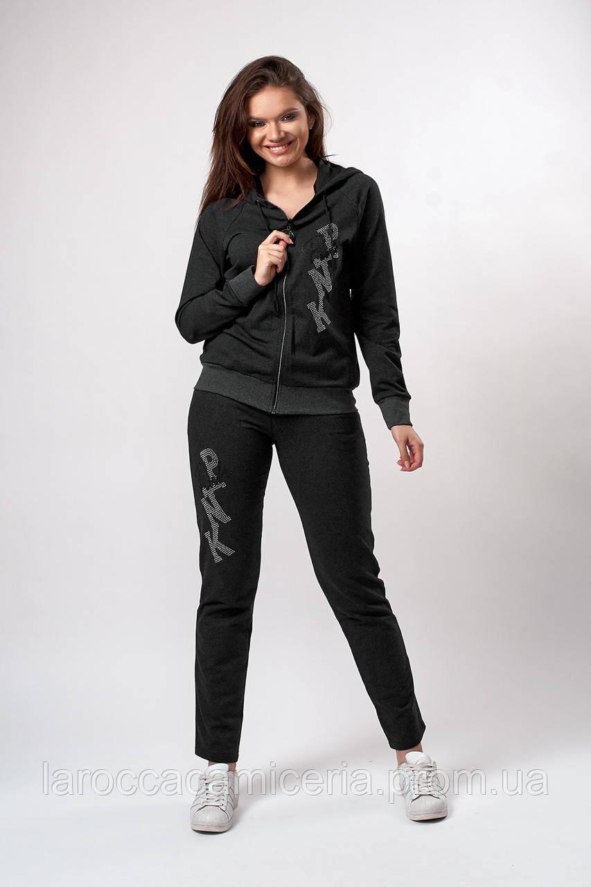 Женский трикотажный костюм с камнями. Код модели КТ-18-76-19. Цвет темно серый.