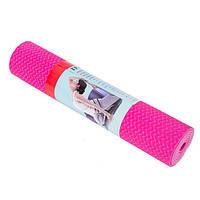Йогамат, коврик для фитнеса, TPE, 2слоя, 6мм, розовый/темно-розовый.