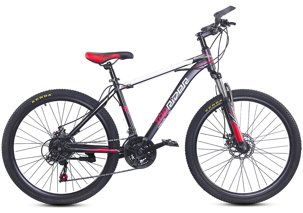 """Горный велосипед TopRider 611 R26"""" 17"""" с дисковыми тормозами (Черно-красный)"""