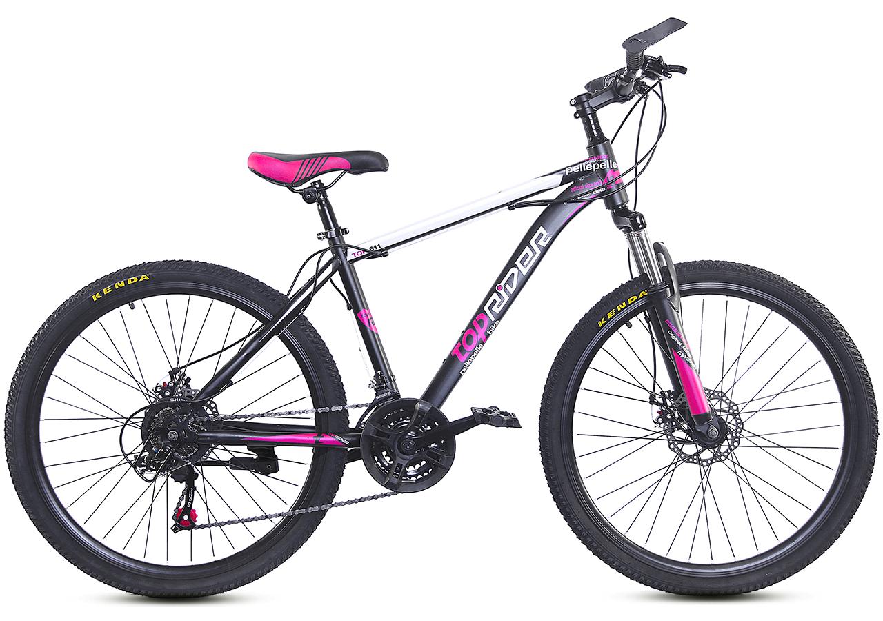 """Горный велосипед TopRider 611 26"""" Серый/Розовый"""