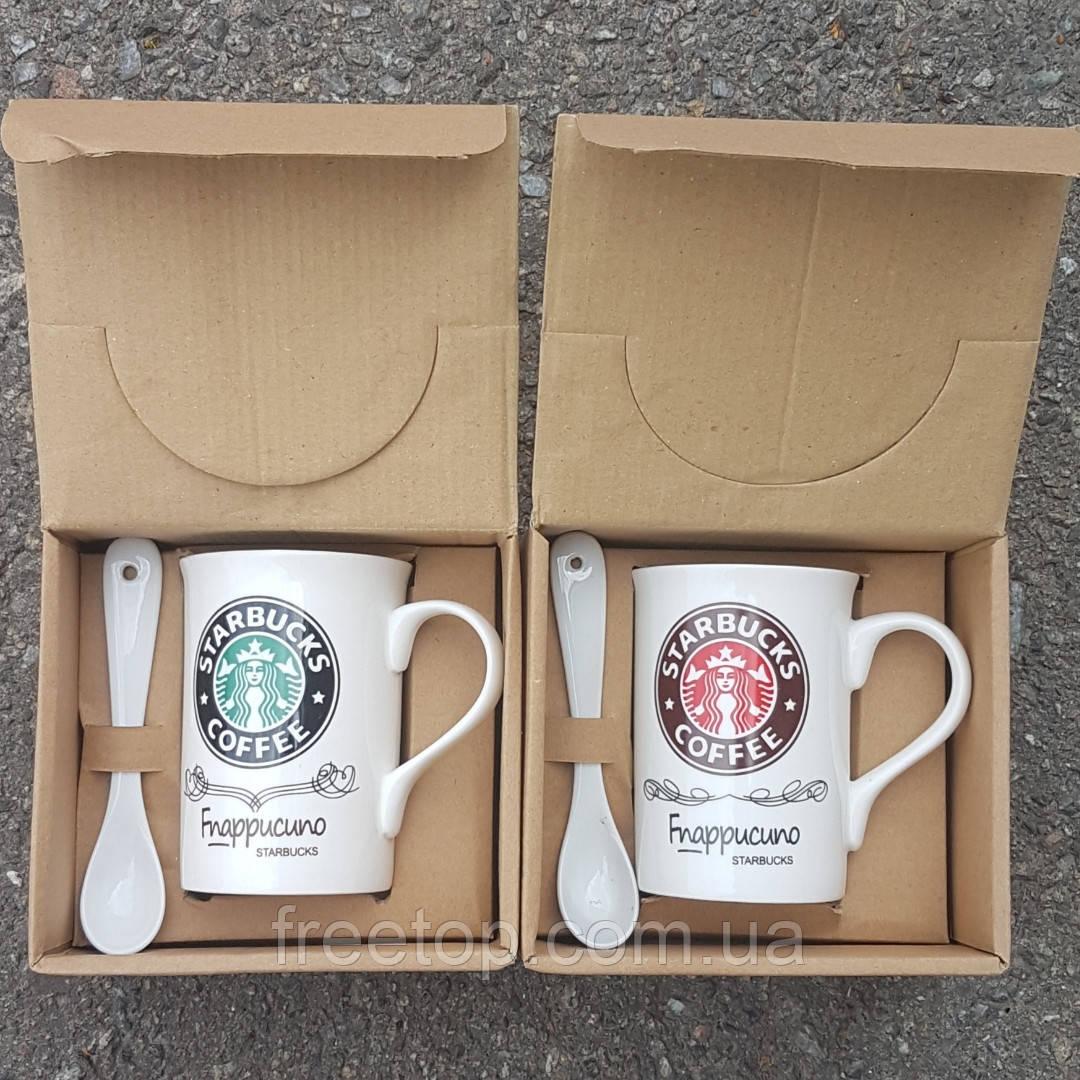 Набір Чашка з ложкою Starbucks керамічна (гуртка Старбакс) 270мл