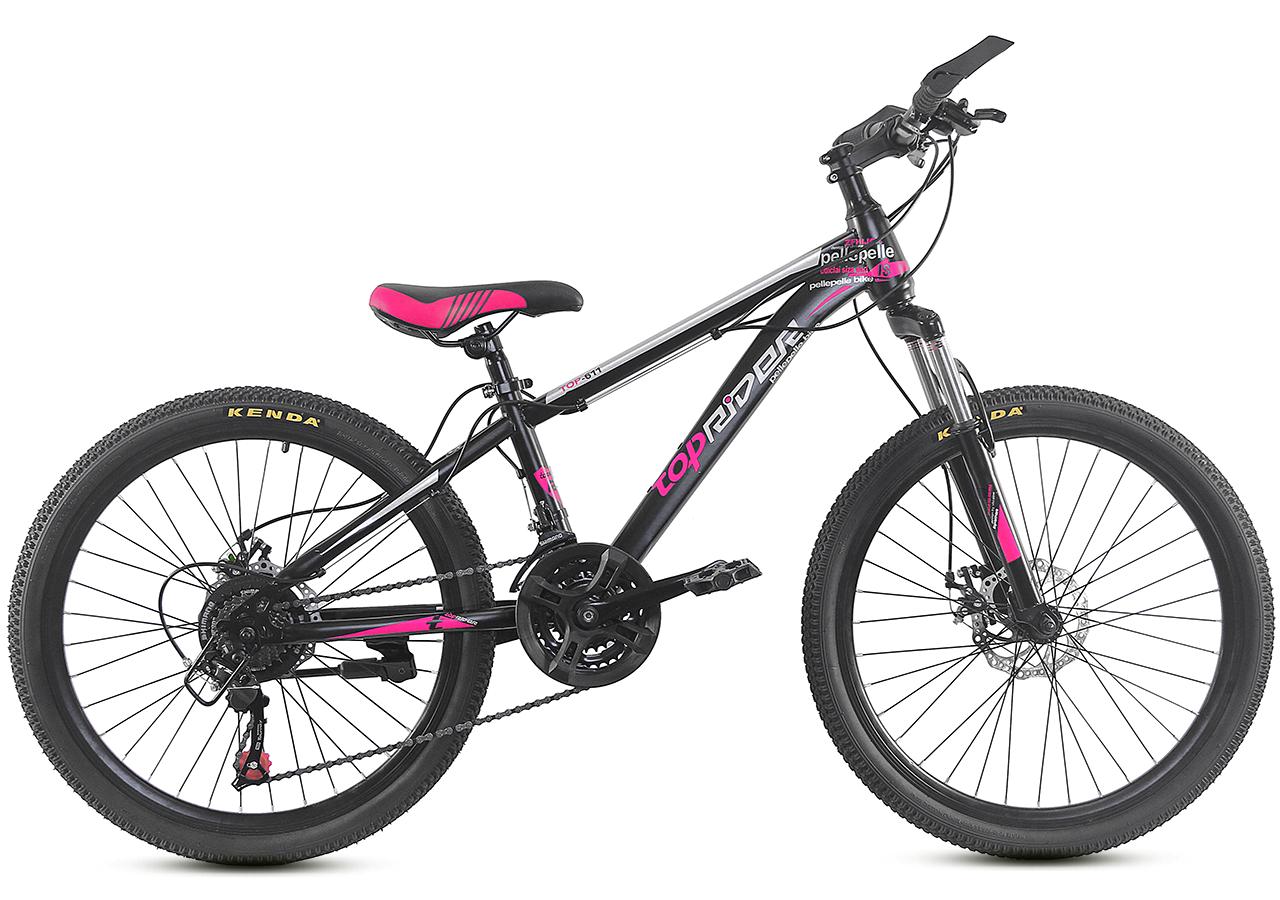 """Горный велосипед TopRider 611 24"""" Черный/Розовый"""