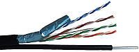 Витая пара FTP 4х2х0,5мм, Atcom, (CCA), 1,2mm трос, экран., для наружных работ с тросом, 305м.
