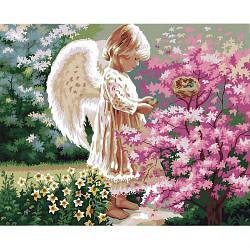 "Картина по номерам ""Ангелочек и птички"""